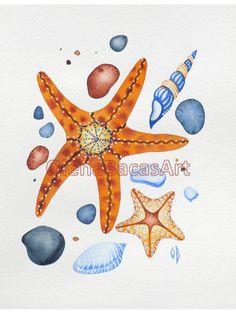 ORIGINAL Watercolor Painting Sea Star Sea Glass by OlenaBacasArt, $35.00