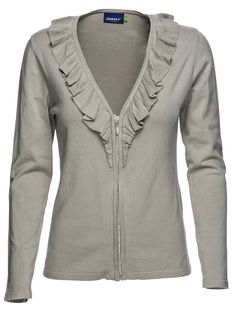 Delicate and soft Milena is not only the perfect friend at brunch, this cardigan with pretty ruffles, will also have you golfing with her in no time. Sahara Milena #Cardigan #golfapparel #Summer2015