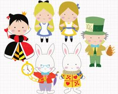 WHAT YOU ARE PURCHASING:  You will receive SIX adorable clip arts (in separate images) featuring characters from Alice in Wonderland: Alice, Mad Hatter,