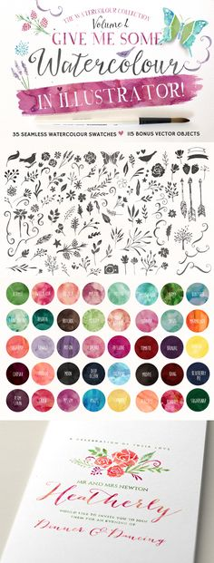 Give Me Some Watercolour in Illustrator Vol 4 by Nicky Laatz | The Ultimate Designer's Collection (Huge Variety of Best-Selling Resource) Feb 2015 from Design Cuts