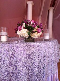 Chemical Lace Silver Overlay Over Satin Lavender Tablecloths .  Www.cvlinens.com #wedding. PURPLE WEDDING TABLES AND CHAIRSPurple ...