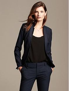 Businesswomen Attire / Work Clothes Navy Lightweight Wool Two ...