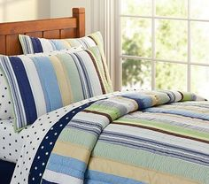 Kasey Quilted Bedding - love those stripes for a boy crib bedding #PotteryBarnKids