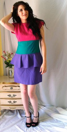 1980s Avon Fashions dress straight from the pages of an 80s Avon catalog! (No seriously, my mom remembers seeing this one) Peplum style is super