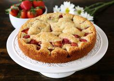 Easy Strawberry Buttermilk Cake Recipe on twopeasandtheirpod.com