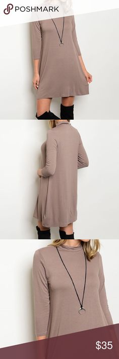 """✨NEW✨Mocha Tan Jersey Tunic Dress Three quarter sleeve, mock semi-cowl neck stretch jersey dress. Rayon/spandex blend. Length approx 35"""". Leather and Sequins Dresses Long Sleeve"""