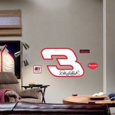 NASCAR Dale Earnhardt Sr. - Logo by Fathead. $80.99. Fathead is a life-size, hi-def, precision-cut wall graphic made of hyper-durable vinyl that's easy to put up, safe for walls and complements the decor of any man cave, office, den, living room, bedroom - well, just about any room. A Fathead IS NOT a poster, sticker, decal, cardboard cutout, wallpaper, mural, cartoon, applique or illustration - although it is a form of art. A REAL.BIG. work of art!. Save 19%!
