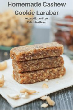Everyone loves the simple, clean and healthy ingredients of larabars but not necessarily the price tag. This Homemade Cashew Cookie Larabar recipe will supply you with the flavour you love at a half the price. Vegan and Gluten free recipe! Cashew Cookies Recipe, Larabar Recipe, Cookie Recipes, Gluten Free Recipes, Gourmet Recipes, Vegan Recipes, Snack Recipes, Bar Recipes, Recipies