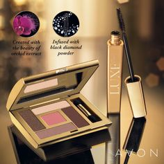 Avon Luxe Eyeshadow, created with the beauty or orchid extract. Avon Luxe Mascara is infused with black diamond powder, making it truly luxurious.