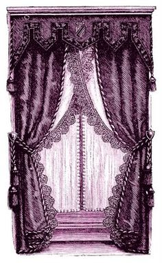 *The Graphics Fairy LLC*: Vintage Clip Art - Fancy Victorian Curtains -Draperies (atc background) in purple. Victorian Curtains, Victorian Windows, Vintage Curtains, Curtains And Draperies, Velvet Curtains, Drapery, Valances, Bedroom Curtains, Victorian Bedroom