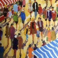 August 2015 new arrival from French artist Caudron. One of 3 paintings of crowds of people mingling amongst each other. To see others by Caudron, visit: http://westportrivergallery.com/dr-caudrons-french-diabetes-physician-paintings-are-based-on-a-perfect-match-between-the-diverse-structures-of-motifs-t.html