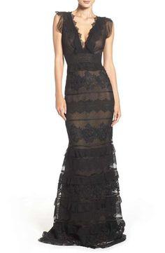 Sachin & Babi Noir Tiered Silk Gown