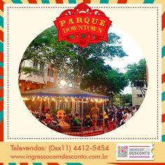 """Parque infantil, localizado no shopping Downtown, na Barra da Tijuca, que se firma como uma excelente opção para quem procura a essência dos parquinhos antigos. São diversas opções de brinquedos tradicionais, em um ambiente amigável e seguro. O """"Parque' Downtonwn"""" conta com uma gama de brinquedos para encantar os pequenos. Gostou? Então vem curtir! Compre agora: www.ingressocomdesconto.com.br Televendas: (0xx11) 4412-5454"""