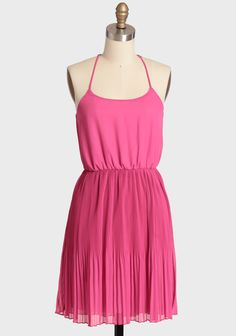 """Pressed Flower Chiffon Dress 45.99 at shopruche.com. Made for twirling with countless delicate pleats, this delicate fuchsia dress is polished with adjustable shoulder straps, a playful racer back, and a defining elasticized waist. Fully lined. Pair with a skinny belt, clutch, and vintage-inspired t-straps for a stylish ensemble.100% Polyester, Made in USA, 35"""" length from top of shoulders, 32"""" bust, All meas..."""
