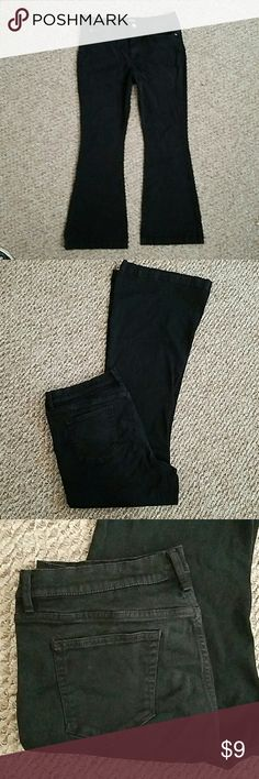 FLARE JEANS Good used condition black has faded some from wash... wore only a few times* stretch*comfortable *33/16 *NEAR11RISE *WAIST36*INSEAM32* I measured;) a.n.a Jeans Flare & Wide Leg