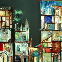 Paintings of Cuba, mixed media artwork, travelling painter