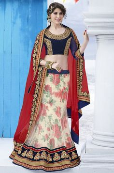Party wear lehenga choli designed with net and bhalgalpuri silk Lehenga,Georgette dupatta and silk blouse with embroidery mirror work. Blue Lehenga, Bridal Lehenga Choli, Lehenga Saree, Sarees, Pakistani Bridal, Floral Lehenga, Lehenga Wedding, Anarkali Suits, Punjabi Suits