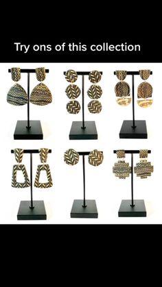 Black Earrings, Statement Earrings, Dangle Earrings, Gold Print, Polymer Clay Earrings, Different Styles, Jewelry Crafts, Dangles, Etsy Shop