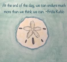 At the end of the day, we can endure much more than we think we can. Frida Kahlo #sanddollar #seashell #shell