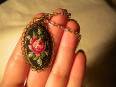 Vintage Fabric Cross Stitch Rose Pendant Set in Twisted Wire Frame on Metal Chain