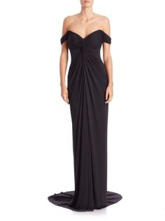 David Meister - Draped Jersey Off-The-Shoulder Gown