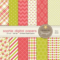 Coral Lime Green Yellow  Gingham Plaid  for scrapping, invitations, cards and more