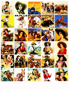 Vintage Cowgirl Clip Art | Cowgirl cow girls pin up girls clip art digital download COLLAGE SHEET ...