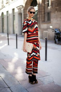 STREET STYLE SPRING 2013: PARIS FASHION WEEK - Lena Perminova doesn't shy away from a graphic print.
