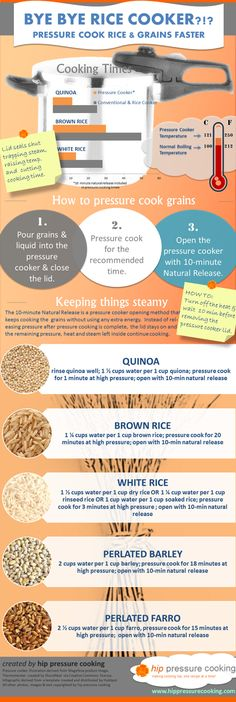 pressure cooking, food recip, brown rice, rice recipes, grain, cooker recip, bye bye, cooker infograph, pressur cooker
