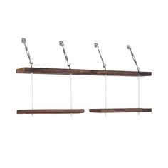 Make a storage statement with these Turnbuckle Shelves. Built from 93-year-old reclaimed pine wood, and suspended with nickel-plated stainless steel hardware, these wooden ledges almost look like they'...  Find the Turnbuckle Display Shelves, as seen in the Farmhouse Favorites Collection at http://dotandbo.com/collections/farmhouse-favorites?utm_source=pinterest&utm_medium=organic&db_sku=DBIIM2T_004