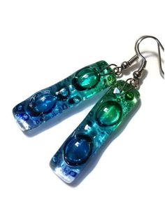 Blue green aqua bars... Lots of  bubbles. Recycled Fused Glass Dangling earrings