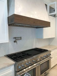 The 60 Thermador Range Is In With The Gorgeous Herringbone Laid Tile Backsplash And Plaster Hoo Tuscan Kitchen Rustic Kitchen Design Kitchen Inspiration Design