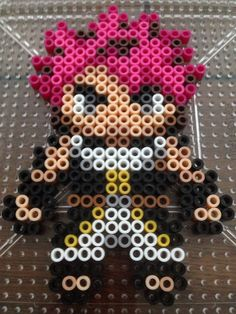 Made Natsu from Fairy Tail anime :) I improvised it from an old one I saw, not sure who made the previous one but will credit if known Easy Perler Bead Patterns, Kandi Patterns, Diy Perler Beads, Perler Bead Art, Pearler Beads, Fuse Beads, Beading Patterns, Fairy Tail, Anime Pixel Art