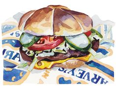 burger illustration on wrapper watercolour with pickle and milk bun