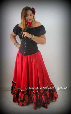 saia cigana babado floral gypsy skirt dança cigana gypsy dance floral skirt www.facebook.com/ateliecigano