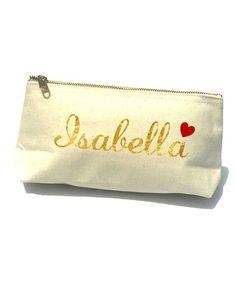 Gold Script Heart Bella Personalized Cosmetic Bag