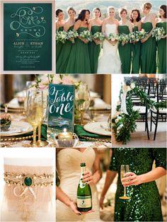 Wedding Invitation, Bride & Bridesmaids, Table Decor, Aisle Decor, Garter, Champagne Bottle & Gold Glitter Glass