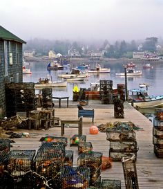 Maine lobster cages - Bass Harbor