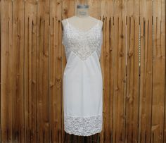 Vintage 50's White Full Slip Lace Lingerie by perniejaynevintage, $32.00