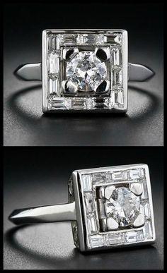 Antique Art Deco diamond ring with a fabulous geometric design.