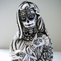 Ceramic Madonna Planter Day of the Dead Mexican Folk by sewZinski