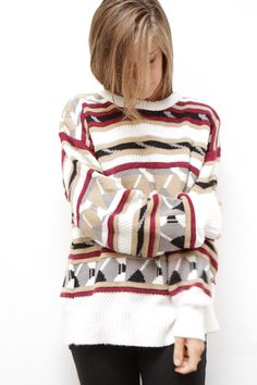 SOUTHWEST 90s bright IKAT style navajo SWEATER by ZiaVintage, $36.00