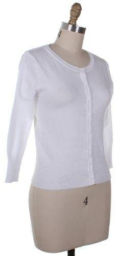 Active Basic Knit Sweater Cardigan Round Neck (Medium, White)