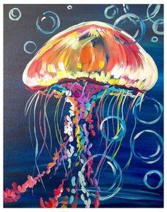 Simple Acrylic Paintings, Acrylic Painting Techniques, Easy Paintings, Acrylic Painting Canvas, Animal Paintings, Diy Canvas, Painting Art, Canvas Art, Jellyfish Drawing