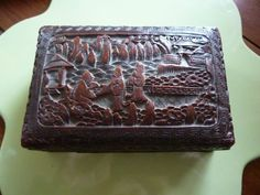 Antique CINNABAR Intricately Carved Cinnabar by AlmostHomeMemories