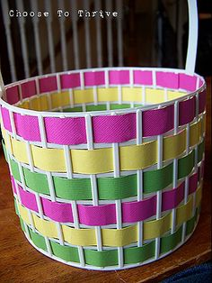 DIY Easter basket using a busted laundry basket (cheap/thin Dollar Tree basket) and scrapbook paper