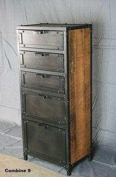 Vintage Industrial Lingerie Chest. Custom Rustic Reclaimed Wood and Steel…