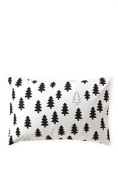 Black and white Christmas tree pillow
