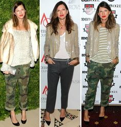 Jenna Lyons remixes her wardrobe and looks fab in camo pants. Plus she wears things more than once #lovethat