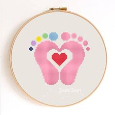 Baby Feet with Heart Silhouette Counted Cross by SimpleSmart